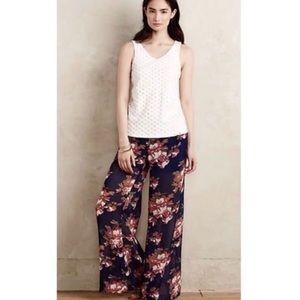 Anthropologie elevenses floral wide leg pants